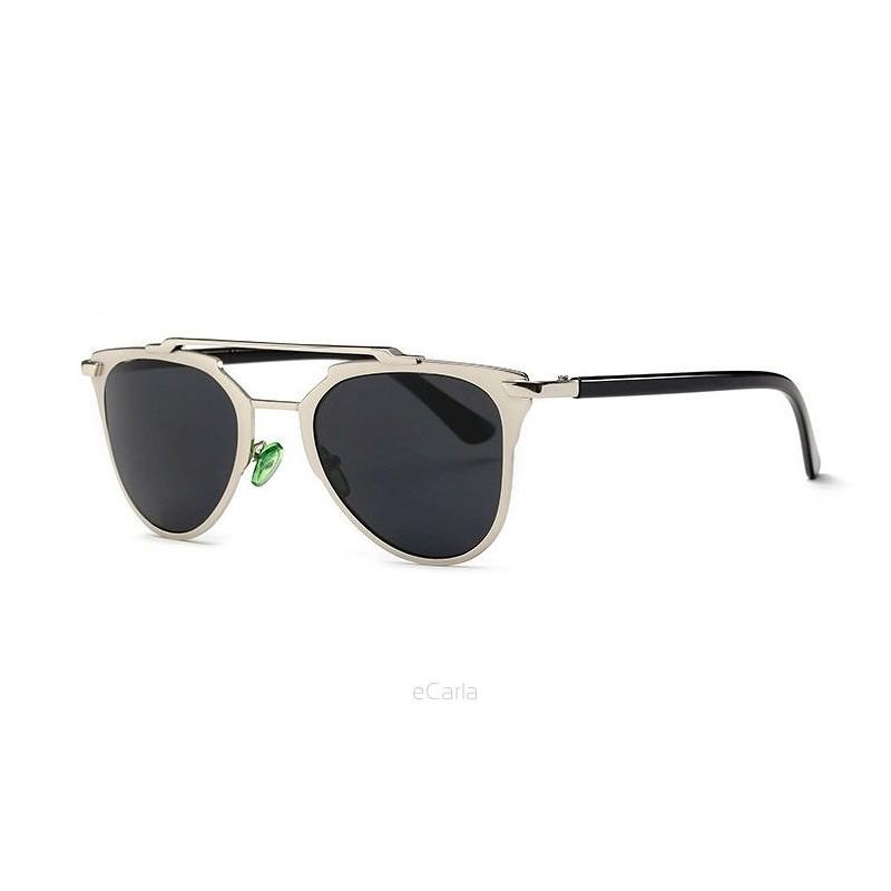 Lacné dámske slnečné okuliare v strieborno čiernej farbe d20f37e0e79