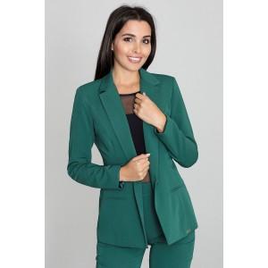 Dámske klasické zelené sako s golierom