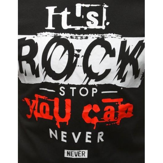 Rockové pánske čierne tričko s krátkym rukávom a nápisom