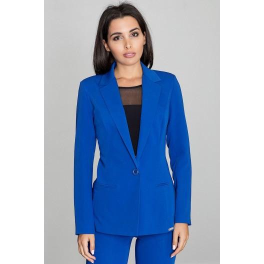 Modré dámske sako so zapínaním na jeden gombík