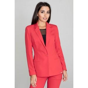 Červené dámske sako elegantné so zapínaním na gombík