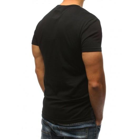 Športové pánske tričko čiernej farby s originálnym dizajnom a nápisom