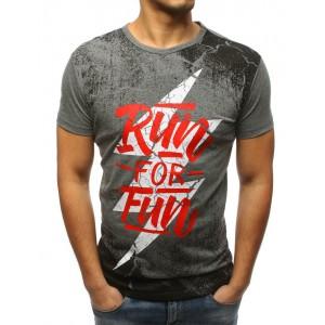 Pánske tričko sivé s krátkym rukávom a módnym dizajnom