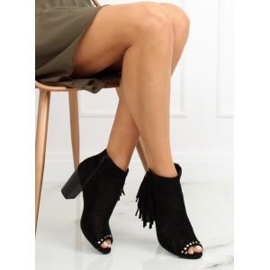 Dámske čierne dierkované kotníkové topánky na hrubom podpätku