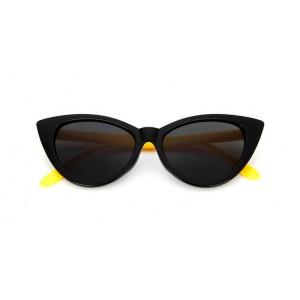 Dámske slnečné okuliare čierne so žltými rúčkami