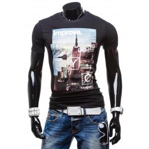 Pánske tričká s potlačeným Manhattanom čiernej farby