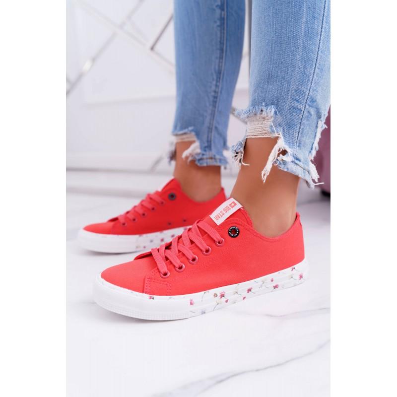 da15901db0c01 Moderné červené dámske tenisky Big Star s trendy podrážkou s kvetmi