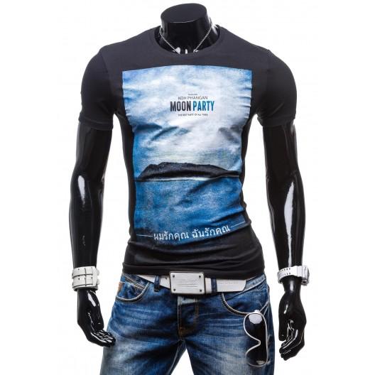 Čierne pánske moderné tričko s potlačou