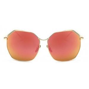 Kovové slnečné okuliare so štýlovými červenými sklami