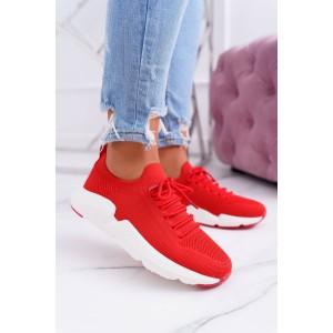 Červené nasúvacie dámske tenisky so šnúrkami a bielou podrážkou 6384b77d655