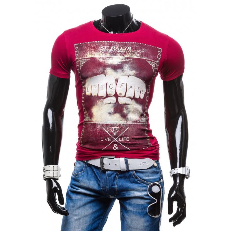 7e2bdab7cdb0 Predchádzajúci. Značkové pánske tričká červenej farby s potlačou ...