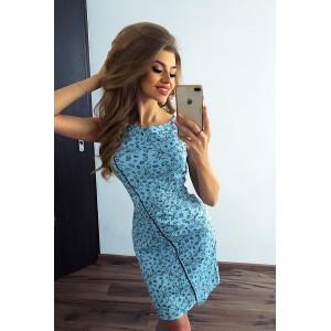 59eda5ee57df Krásne vzorované asymetrické šaty modrej farby