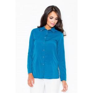 Dámska jemná košeľa modrej farby so zapínaním na gombíky