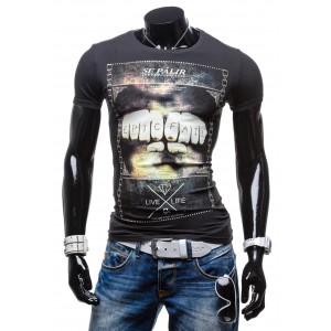 Elegantné pánske tričká s potlačou čiernej farby