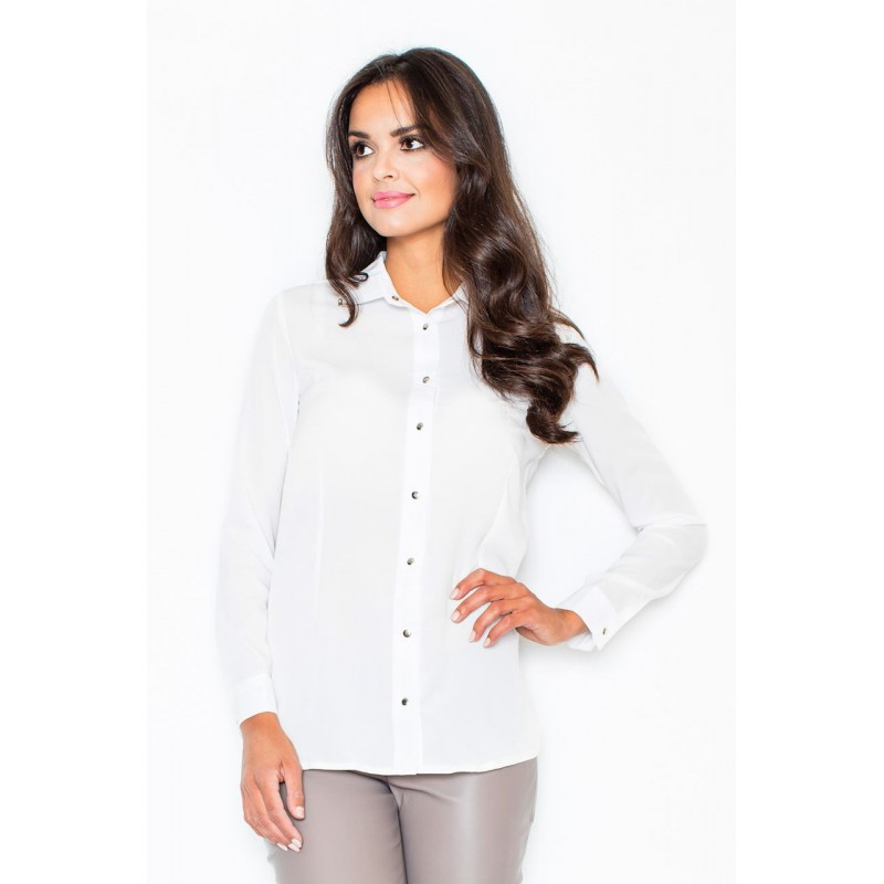 24d8676c1e1d Biela dámska elegantná košeľa s kovovými detailami