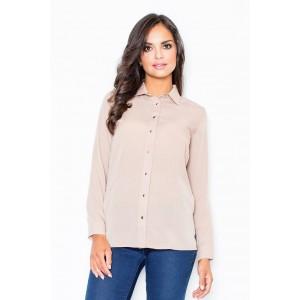 Jemná dámska košeľa béžovej farby bez vreciek