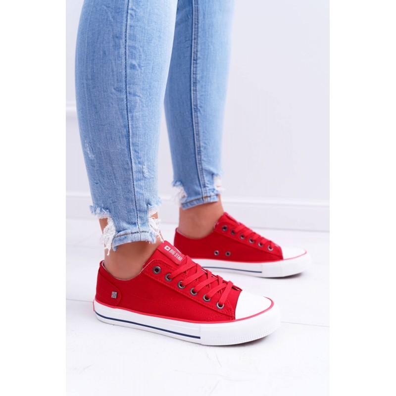 Štýlové letné dámske plátené tenisky Big Star v módnej červenej farbe 777e34810e