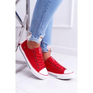 Štýlové letné dámske plátené tenisky Big Star v módnej červenej farbe