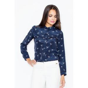 Elegantná jemná dámska košeľa tmavo modrej farby s vtáčím motívom