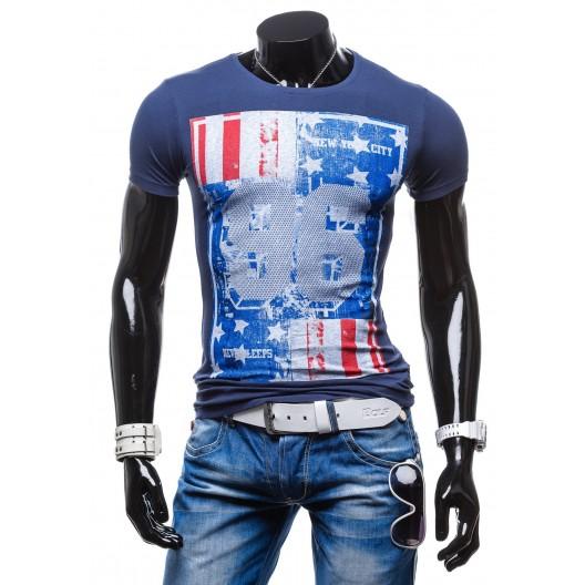 Štýlové pánske tričká s potlačou modrej farby