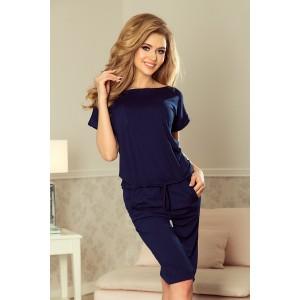 Tmavo modré športové šaty s krátkymi rukávmi