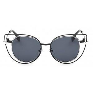 Mačacie okuliare v čiernej farbe s kovovým rámom