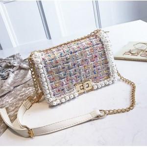 Dámska farebná elegantná crossbody kabelka s perličkami