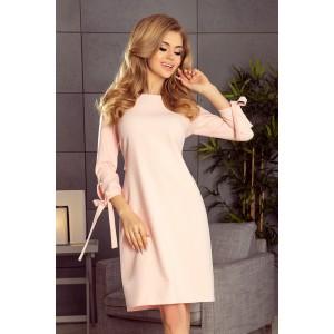 Ružové spoločenské šaty s mašľou na rukávoch a v páse