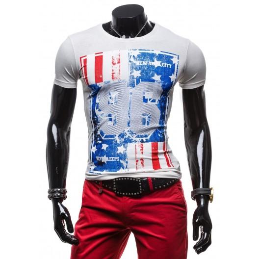 Originálne pánske tričká bielej farby s potlačou