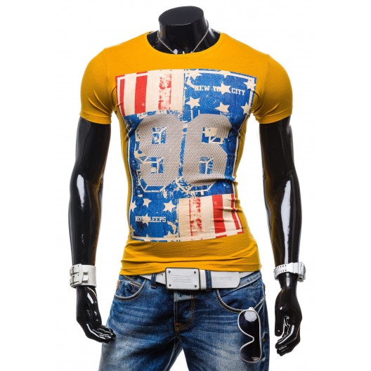 Tohto sezónne pánske tričká žltej farby s potlačou