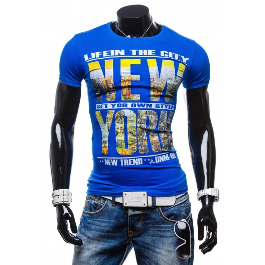 Moderné pánske tričko s nápisom NEW YORK modrej farby