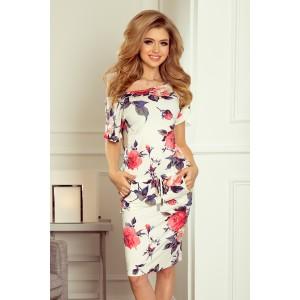 Béžové kvetinové šaty s krátkymi rukávmi