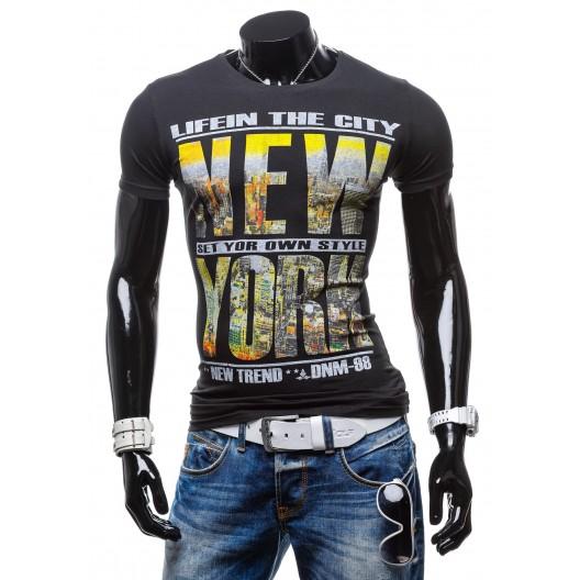 Pánske tričká čiernej farby s nápisom NEW YORK