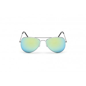 Mentolové slnečné okuliare pilotky so zlatým rámom