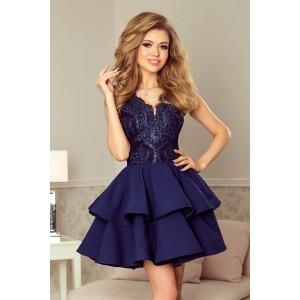 Luxusné plesové šaty s dvojitou sukňou modrej farby