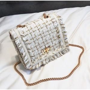 Bielo zlatá dámska crossbody kabelka