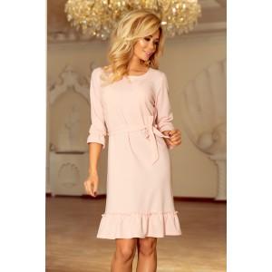 Slávnostné svetlo ružové riasené šaty s väzbou
