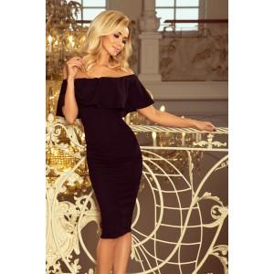 Čierne spoločenské šaty s odhalenými ramenami
