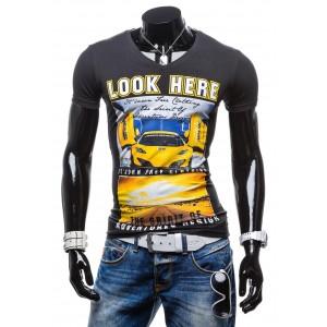 Moderné pánske tričká čiernej farby s potlačou