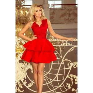 Krátke červené šaty s dvojitou sukňou