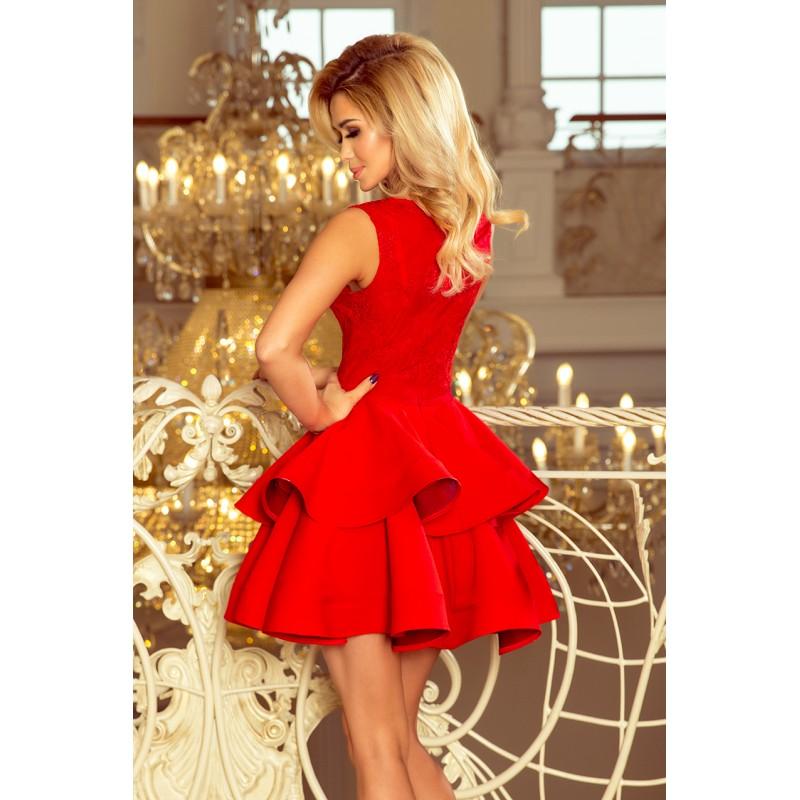 Krátke červené šaty s dvojitou sukňou 0499856c2af