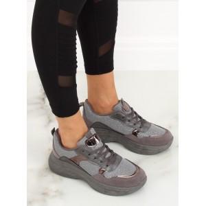 Originálne dámske botasky v sivej farbe s metalickými doplnkami