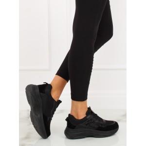 Športové dámske botasky na fitness v čiernej farbe s trendy dizajnom