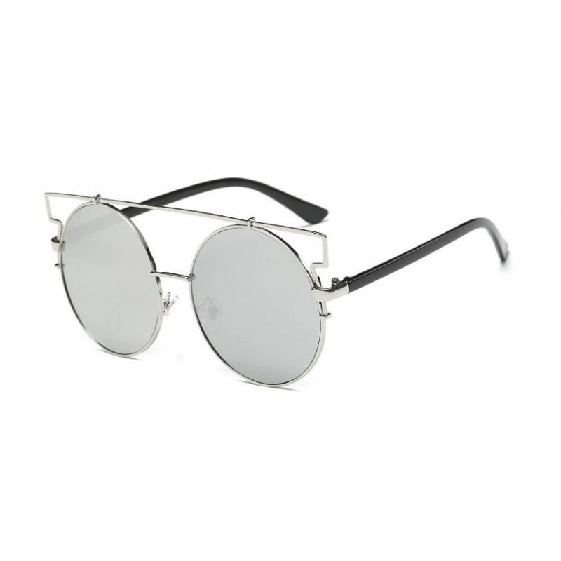 Okrúhle slnečné okuliare strieborné s dizajnovým rámom bc716d07625