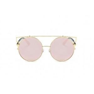 Ružové okrúhle slnečné okuliare so zlatým rámom v modernom tvare
