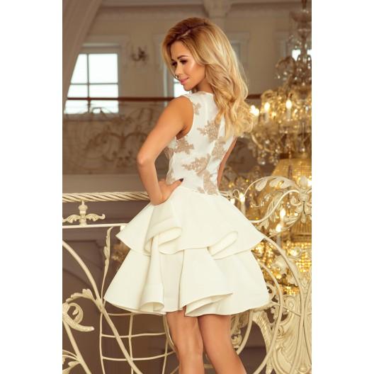 Luxusné čipkované šaty s dvojitou sukňou béžovej farby