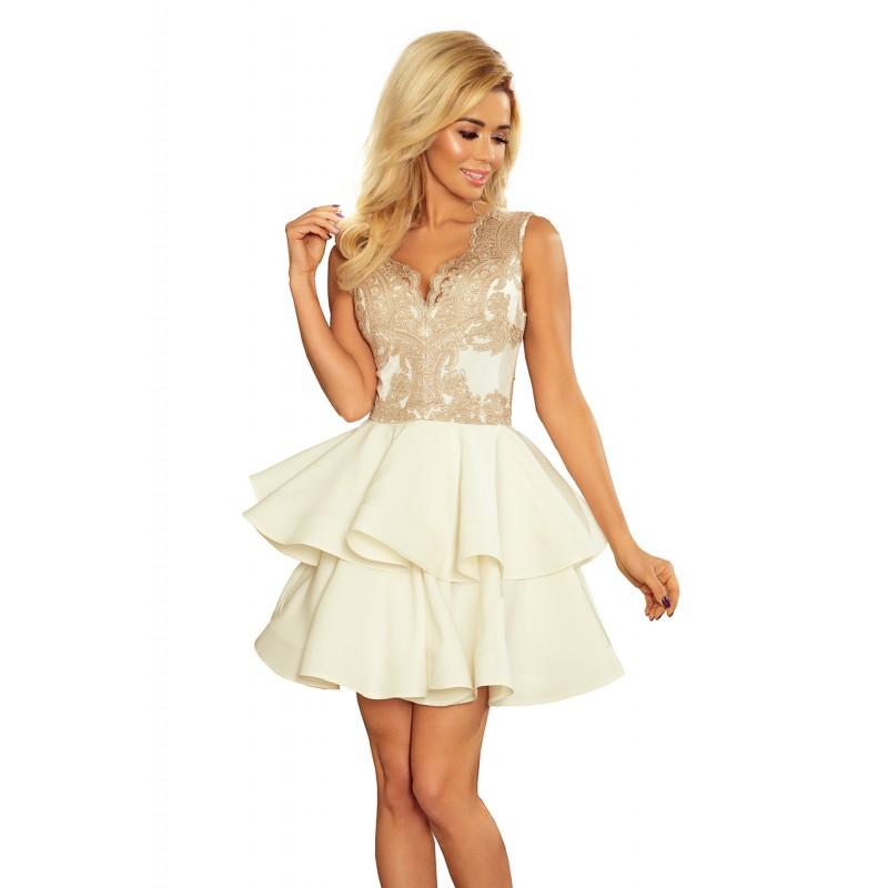 f52ae7ac5ce2 Luxusné čipkované šaty s dvojitou sukňou béžovej farby