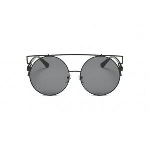 Štýlové dámske čierne slnečné okuliare okrúhle