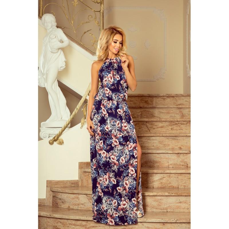 f6203ccb4c4c Dlhé vzdušné kvetinové šaty tmavo modrej farby