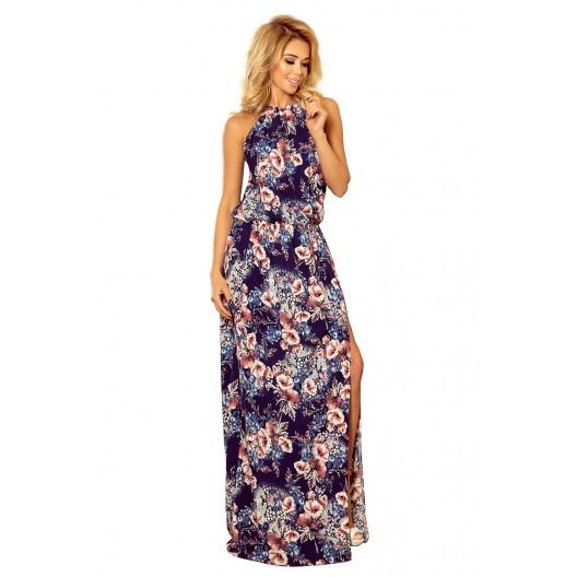 Dlhé vzdušné kvetinové šaty tmavo modrej farby